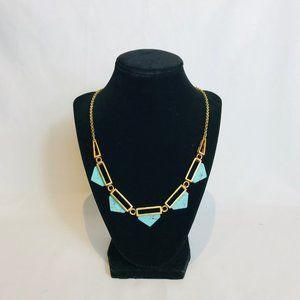 J.Crew Gold & Faux Turquoise Bib Necklace #114